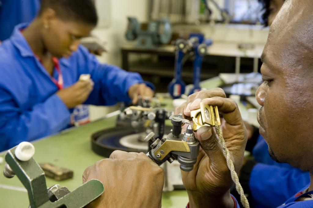 Johannesburg, Gauteng province: Trainee diamond polishers