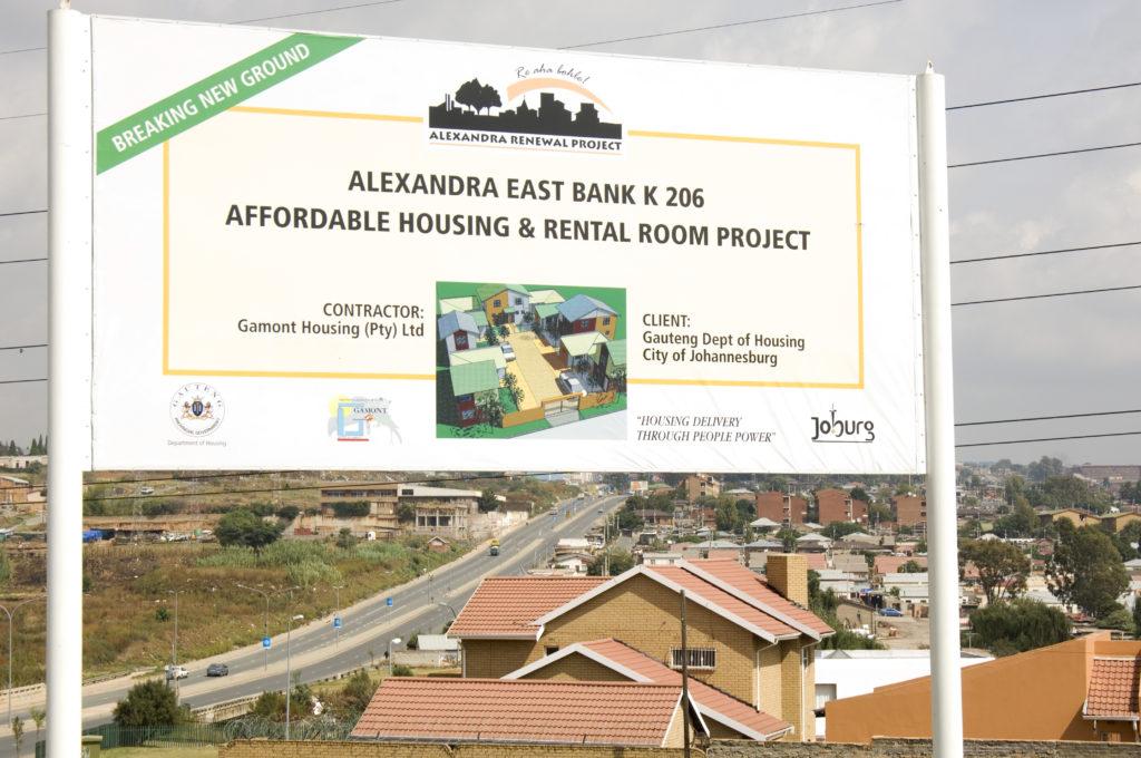 Billboard for new housing project Alexandra, Johannesburg