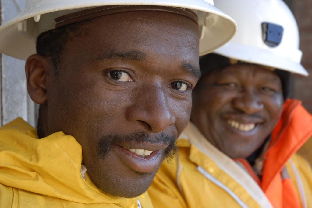 Cage assistants (from left) Moeketsi Momlekoa and Ndlaka Mtano at the shaft at Harmony Gold Mine