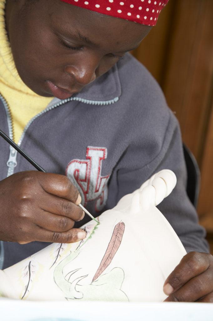 Zandile Sheila Dlamini, ceramics painter at the Ardmore Ceramics studio