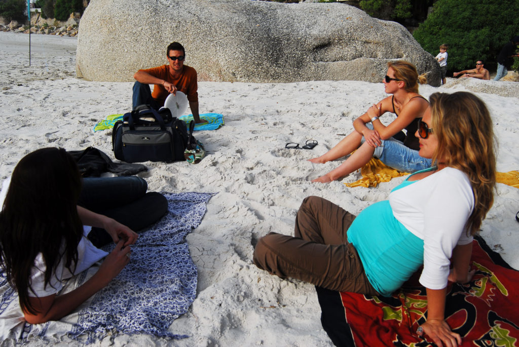 From left, Nicole Marais, Chase van Aardt, Judith Lettier and Joy van Aardt relax on Clifton Second Beach