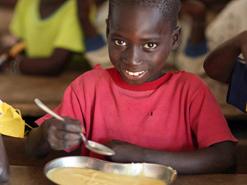 A boy smiles for the camera at Eva Orango school in Orango Island of Bijago Archipelago in Guinea-Bissau.