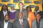 Standing, Lindiwe Ngcobo (IMC), Gcina Mhlophe, Brendon Jewaskiewitz, Belu Mdlalo (IMC) and Thami Masuku. Seated are Vusi Mvelase, Miller Matola and Iggy Sathekge (IMC)