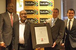 Miller Matola, CEO of Brand South Africa; SASOL Group Corporate Marketing General Manager Vusi Cwane; SASOL Group Brand Marketing Manager Adolf Fourie; Brand Finance African Valuation Director Rupert Kem